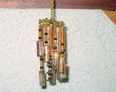 Wind Chimes Gold & Amber Dollhouse Miniature 1/12 Scale, Hand Made