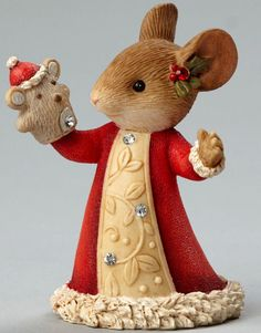 HEART OF CHRISTMAS~MOUSE WITH PUPPET~KAREN HAHN~CHRISTMAS~HOLLY~4046841