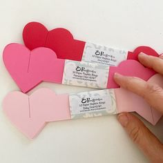 Love! Red, Flamingo Pink & Baby Pink Heart paper napkin rings. More at Pomegranatree.etsy.com #Pomegranatree #napkinrings #papernapkinrings #valentinesday #valentines #valentines2018 #valentinesdaytable #valentinesdaytabledecor #redhearts #pinkheart