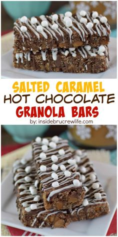 Homemade granola bars with a fun salted caramel twist added to them.  Perfect for on the go breakfast!