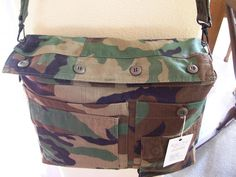 Recycled Army Shirt Daddy Diaper Bag- Woodland - getting ideas for a baby shower.