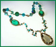 Vintage Crystal Bead Necklace Pendant by BrightgemsTreasures, $34.50