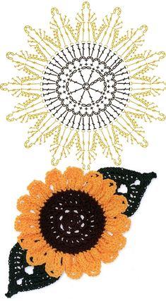 No.51 SunFlower Crochet Flower Motifs / 해바라기 코바늘 플라워 모티브도안
