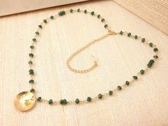 Hidden Star Necklace Peridot Green Onyx by FemininePersonae