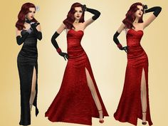 Dress glamorous golden years `-^_^-. two colors, red and black.  Found in TSR Category 'Sims 4 Female Formal'