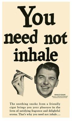 Ronald Reagan cigar advertisement, 1951.