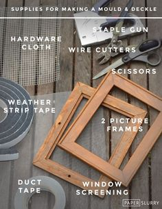 Supplies for making a mould and deckle for hand papermaking