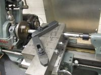 Homemade lathe milling attachment constructed from mild steel plate.