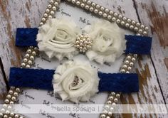 Royal Blue Bridal Garter and Toss Garter - Something BlueWedding Garter Set - Lace Bridal Garter - Rhinestone and Pearl. $25.00, via Etsy.