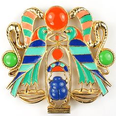 Hattie Carnegie Egyptian Revival Falcons Scarab Snakes Pin or  Pendant
