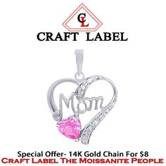"""14K Gold Pink Sapphire Mom Heart Pendant Without Chain """"Mother\'s Day Gift"""". Starting at $1"""