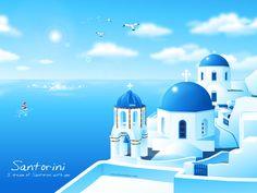 santorini+drawing | Santorini by bunnybua