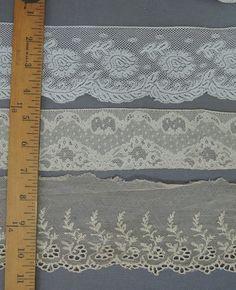 3 Wide Antique Lace Trims, Early 1900s Edwardian Laces, Yards - Dandelion Vintage
