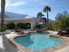 Vista Morocco | Palm Springs Vacation Rental - rent a house instead of a hotel room, maybe not THIS house per se, it is $520, which on the one hand is a bit expensive, on the other hand compared to a hotel it really isnt that bad, plus a pool!  It sleeps 16.  Maybe there is a cheaper house somewhere that sleeps slightly less ppl (unless we have 16 ppl, I have no idea).  I think i Vegas was like $220 per night, but did 2 nights, could just do Sat night here since it is way closer than LV