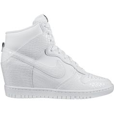 Nike Dunk Sky Hi White Snake ($200) ❤ liked on Polyvore featuring shoes, shoe club, women, lightweight shoes, white shoes, white wedge heel shoes, light weight shoes and nike shoes