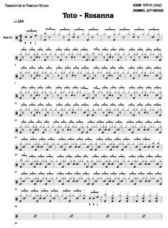 The full drum sheet music for Rosanna by Toto. Guitar Lessons For Beginners, Drum Lessons, Music Lessons, Drum Sheet Music, Drums Sheet, Music Sheets, Drum Rudiments, Drum Notes, Learn Drums