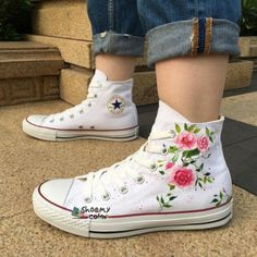 7d0010c7b015 Womens Converse Floral Custom Flower Hand Painted Canvas Shoes