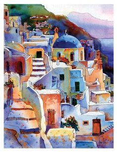 This scene in Greece is one that is painted frequently. What I love about this painting is the lively color and the lights and shadows. An imaginative interpretation of this view. Watercolor Architecture, Watercolor Landscape, Watercolour Painting, Landscape Art, Painting & Drawing, Landscape Paintings, Watercolor Artists, Landscapes, Watercolor Trees