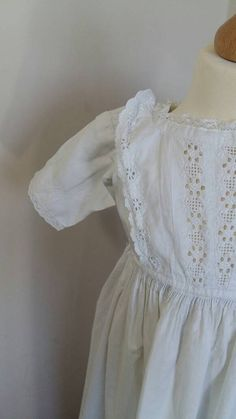 Long Vintage Christening Gown or Baptism by LilysVintageLinens