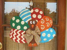 Thanksgiving Turkey Burlap Door Hanger & Turkey door hanger/Fall door hanger/The Gilded Polka Dot ... Pezcame.Com