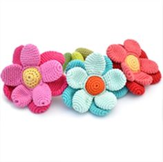 £8.99 hand crochet flower rattles - suitable from birth