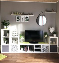 The IKEA Kallax series Storage furniture is an essential part of any home. They supply get and allow you to hold track. Stylish and delightfully easy the corner Kallax from Ikea , for example. Living Room Storage, Living Room Tv, Wall Shelving Units, Storage Shelves, Decoration Entree, Relaxation Room, Home Office Design, Ikea Kallax, Interior Design