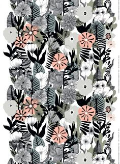 """Marimekko's Kasvu fabric features a beautiful, multicolour array of botanical motifs. The pattern, drawn by Maija Louekari, resembles a wild flower meadow and charms with its detailed stems, leaves and blossoms – Kasvu is Finnish for """"growth"""". Textile Patterns, Textile Design, Flower Patterns, Fabric Design, Print Patterns, Floral Print Design, Motif Floral, Floral Prints, Art Floral"""