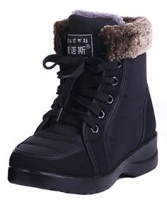 IDIFU Women's Comfy Fur Lined Waterproof Winter Booties Short Ankle Snow Boots Lace Up * Click on the image for additional details. (Amazon affiliate link)