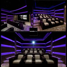 Totally get inspired by They are a design & fabrication of Acoustically Treated Custom The LED lights change to other colors too. such as Red and Blue! Hit ❤️if you dig LED lights in your 💯 . Movie Theater Decor, Home Theater Lighting, Home Theater Setup, Home Theater Design, Theatre, Media Room Decor, Media Room Design, Home Cinema Room, Home Theater Rooms