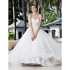 Bata de pelota Novia Y Charmeuse del satén del estiramiento alineado vestidos de novia de palabra de longitud - USD $ 147.49