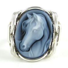 Lovely Carved Agate Horse Cameo Ring BEAUTIFUL and Breathe-taking. Amazing BLACK AGATE CARVED CAMEO BY MASTER CRAFTSMEN IN IDAR-OBERSTEIN,