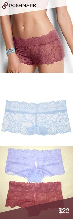 Victoria's Secret PINK floral lace boy shorts Duo brand new in package Victoria's Secret PINK floral lace and sexy boy shorts Duo in begonia and light blue. Super lace, cute and stretchy, must have  PINK Victoria's Secret Intimates & Sleepwear Panties