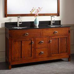 60 harington oak double vanity for undermount sinks