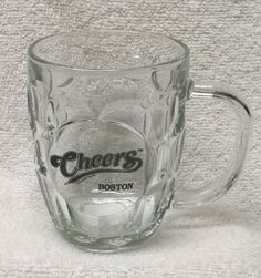 CHEERS Boston Dimple GLASS Beer Mug LUMINARC stein 2003 pub bar coffee USA EUC  | eBay