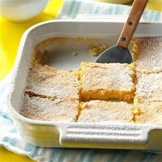 Lemon Bars Recipe -This dessert is a delightful recipe from my mother's file. I've been serving it for many years. The bars have a wonderful tangy flavor, and they're always a hit. For variety of color and shape, they're a nice addition to a platter of cookies. —Etta Soucy, Mesa, Arizona