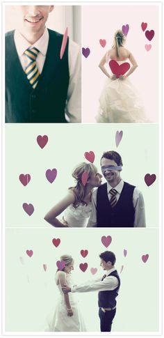 Hanging paper hearts wedding photography idea.