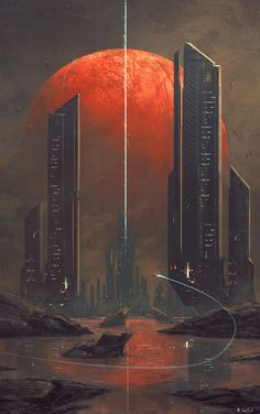 Kasai by Joseph Biwald city alien landscape location environment architecture | Create your own roleplaying game material w/ RPG Bard: www.rpgbard.com | Writing inspiration for Dungeons and Dragons DND D&D Pathfinder PFRPG Warhammer 40k Star Wars Shadowrun Call of Cthulhu Lord of the Rings LoTR + d20 fantasy science fiction scifi horror design | Not Trusty Sword art: click artwork for source