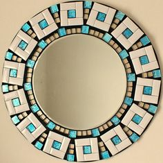 £59.99. Beautiful Handmade Mosaic Mirror Bevelled Edge white ceramic and blue foiled glass Mosaic Tile