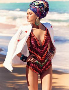 Missoni -  Love the headwrap on the beach idea, for when you come out da water! Lol - nice!