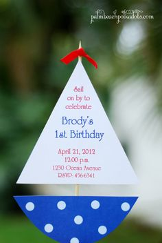 Sailboat Nautical Birthday or Baby Shower Party Invitation Invitations by Palm Beach Polkadots.com