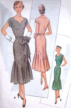 RARE Vintage 1950's FF Dress Pattern Low Sweetheart by PatternGal, $90.00