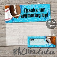 Sports Pool Party, printable favor bag or goodie bag label, INSTANT DOWNLOAD