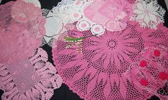 Vintage Doily Pink Cottage Rose Crochet by CheekyVintageCloset, $24.00