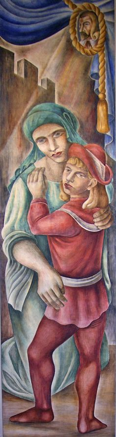 """One of the frescoes in the """"Teaching of the Arts"""" series by Mitchell Siporin executed in 1938 in the foyer of the school auditorium of what is  now the Lane Tech College Prep High School at 2501 West Addison Street on the Northwest Side of Chicago, Illinois.  The fresco project was sponsored by the Federal Art Project which was part of the Works Progress Administration (WPA) designed to provide work for unemployed Americans during the great depression."""