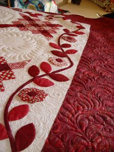 Red & White Applique. Look at wonderful quilting to left of upper border.