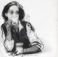Girl Drinking Coffee - appears to be by Charlie Mackesy, charliemackesy.com