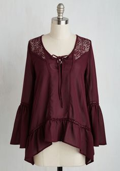 Table for Two Top. Draped in this diaphanous burgundy blouse, you meet your date with graceful confidence. #red #modcloth