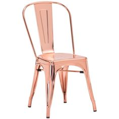 Elio Rose Gold Dining Chair ($357) ❤ liked on Polyvore featuring home, furniture, chairs, dining chairs, rose furniture and metallic furniture