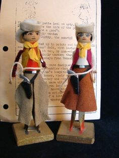 1940s CLOTHESPIN Dolls, YIPPEE & YIPPETTE, Kerrville Texas Veteran's Hospital