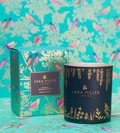 Sara Miller London is a lifestyle brand with fabulous print, pattern and color. Candle Packaging, Tea Packaging, Luxury Packaging, Food Packaging Design, Packaging Design Inspiration, Brand Packaging, Branding Design, Bottle Packaging, Label Design